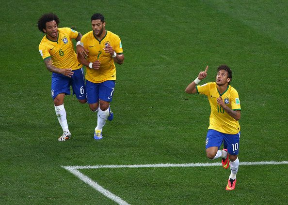 Neymar celebrates a goal for Brazil at the World Cup