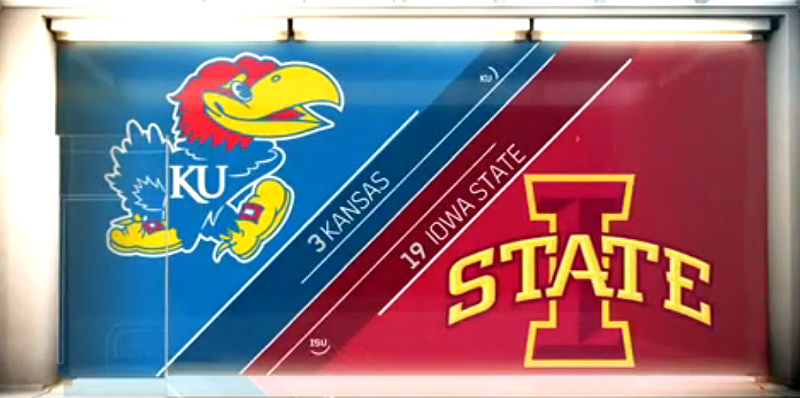Kansas v Iowa State college basketball scores