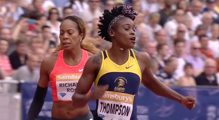 Elaine Thompson of Jamaica competes for UTECH