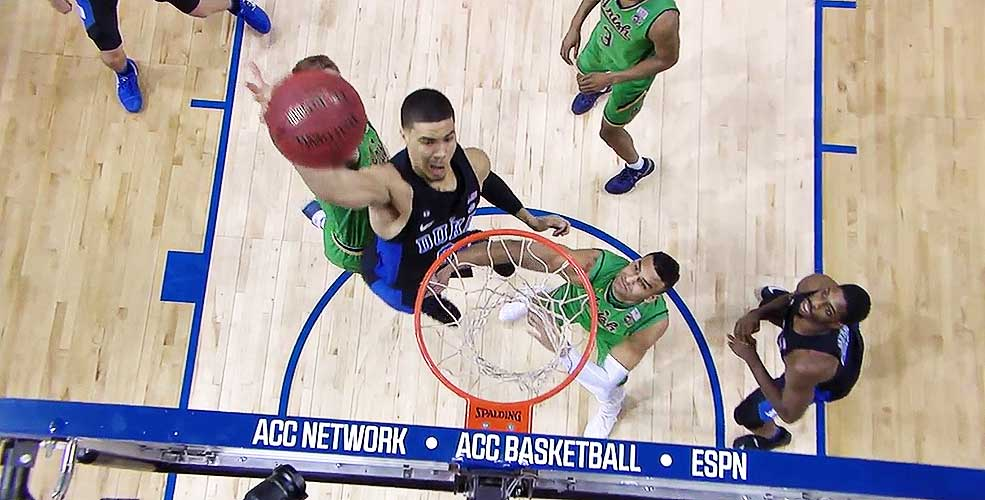 Jayson Tatum of Duke Dunks